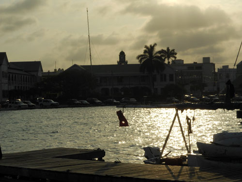 Belize City, Belize - sunset in the docks