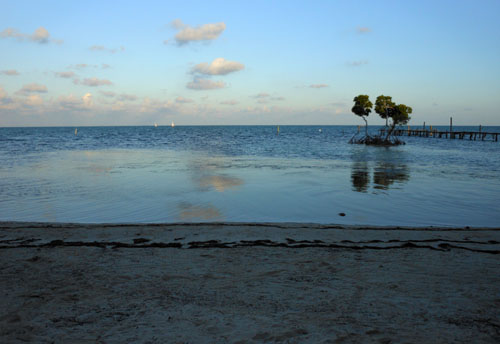 Caye Caulker, Belize - Vega Inn beach at dusk