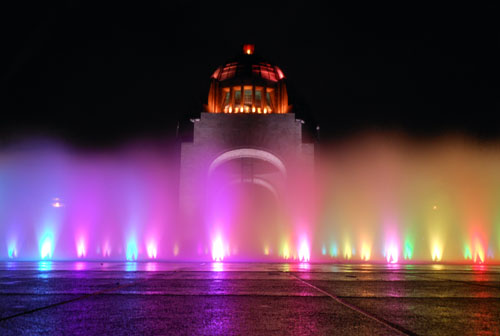 Mexico City, Mexico - plaza azteca fountains in the night