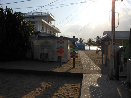 Placencia, Belize - famous Sidewalk, signs to places of interest