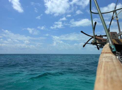 Sailing from Caye Caulker to Placencia, Belize - on board of the Ragga Queen, view in front