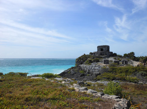 Tulum, Mexico - structure 45 on the edge of cliff