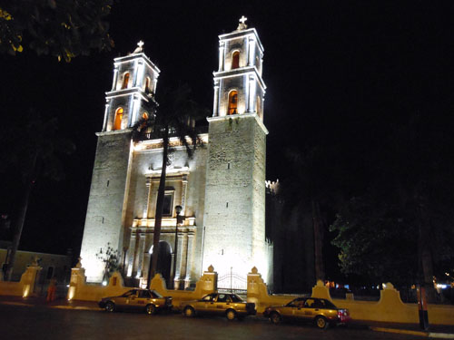 Valladolid, Mexico - the cathedral at night