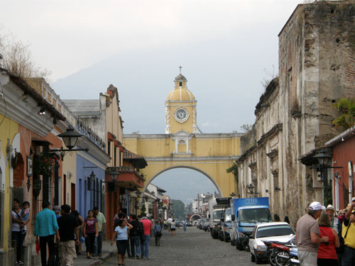 Antigua: the arch with the Agua volcano in the background