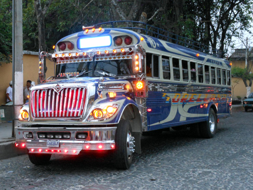 Guatemala: Bus at night