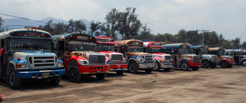 Guatemala: Buses parked at station