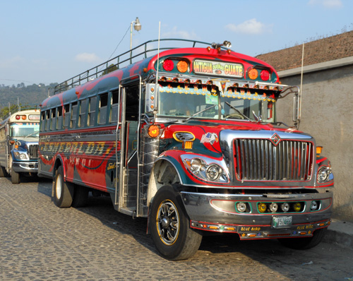 Guatemala: The colourful buses in Antigua