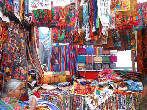 Chichicastenango market: colourful market stall