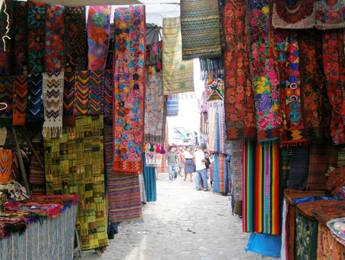 Chichicastenango market: colourful textiles
