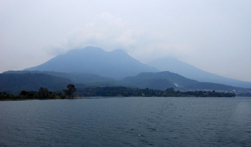 Lake Atitlan: volcano Toliman (foreground) and Atitlan (background)