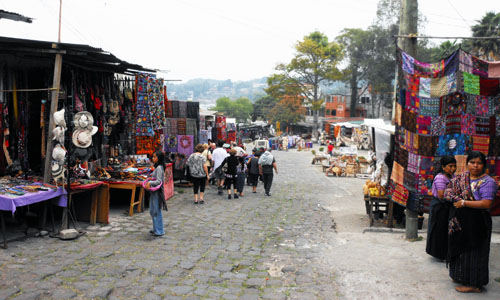 Santiago Atitlan: market stalls near the dock