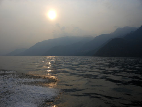 Lake Atitlan: sunset over the lake