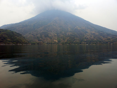 Lake Atitlan: view of the San Pedro volcano, peak 3000m