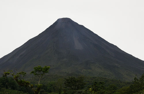 Arenal Volcano: lava on the active side