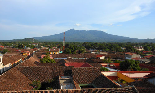 Granada: view from La Merced tower with Mombacho volcano