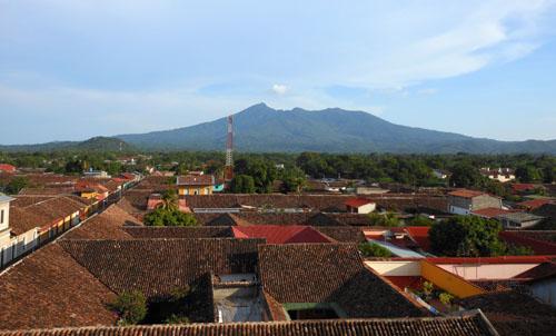 Granada: view from La Merced tower with Mombacho volcano