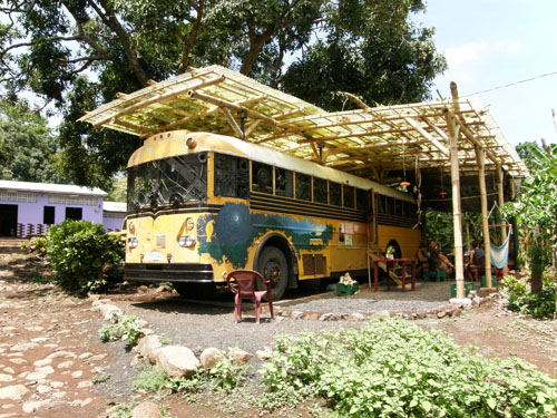 Ometepe island: local shop in a bus