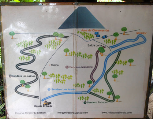 Reserva Mirador El Silencio: map of trails at the reserve