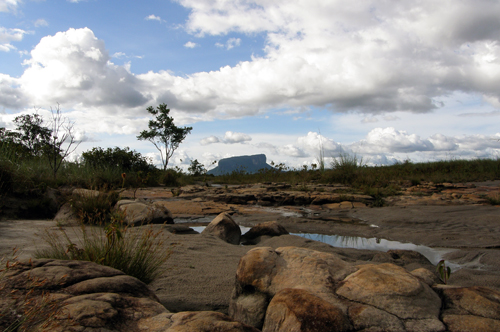 Canaima National Park table mountain in the distance