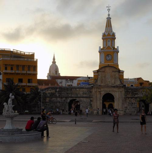 Cartagena: clock tower entrace