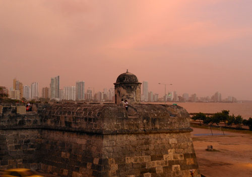 Cartagena: view of new city from walls at dusk