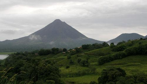 Costa Rica: panorama of Arenal volcano and Cerro Chato