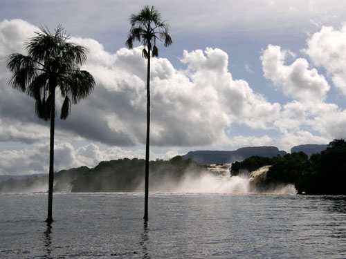 Venezuela - Canaima Lagoon: waterfalls visible from the beach