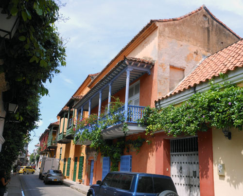 Colombia - Cartagena: one of the streets in the historic centre
