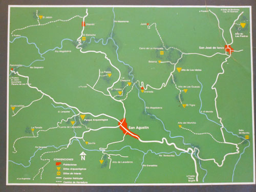 Colombia - San Agustin: map of trails and sites