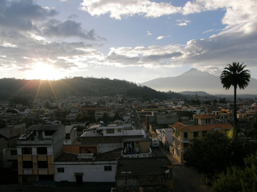 Otavalo - Hostal Chasqui: panorama of the city at sunset