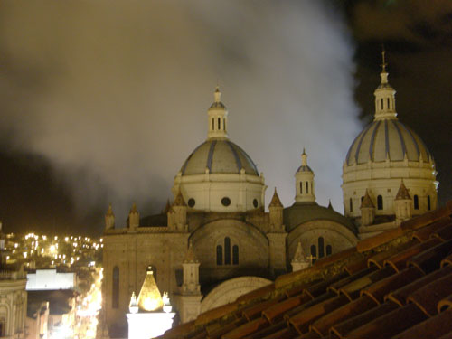 Cuenca - fire behind the cathedral