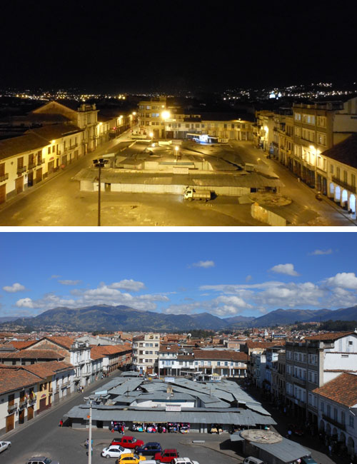 Ecuador - Cuenca: main plaza by day and night