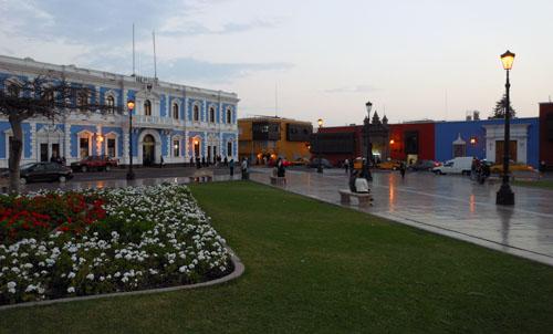 Trujillo colonial buildings on main plaza