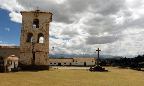 Chinchero - bell tower and plaza with museum in the background