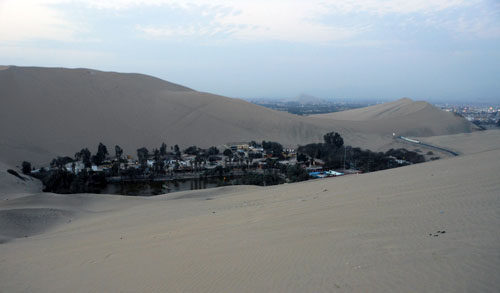 Huacachina oasis - view from sand dunes