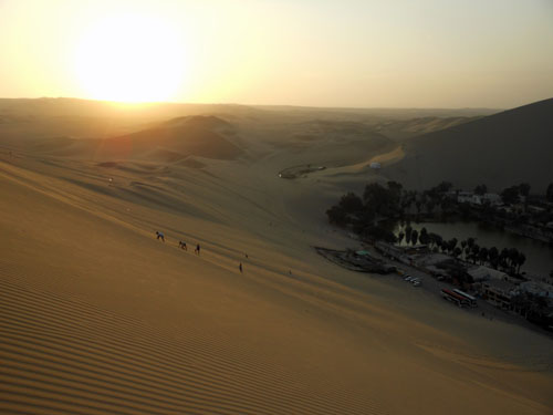 Huacachina - sunset over sand dunes