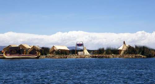 Lake Titicaca: approaching the floating Uros islands