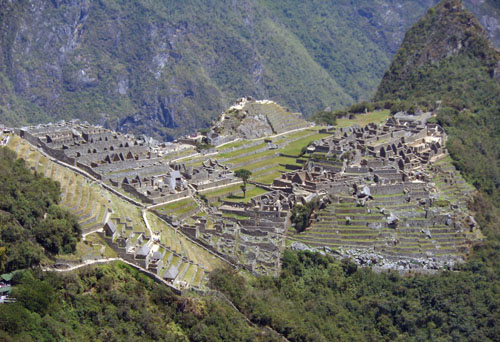 Machu Picchu birds eye view from Inti Pukku