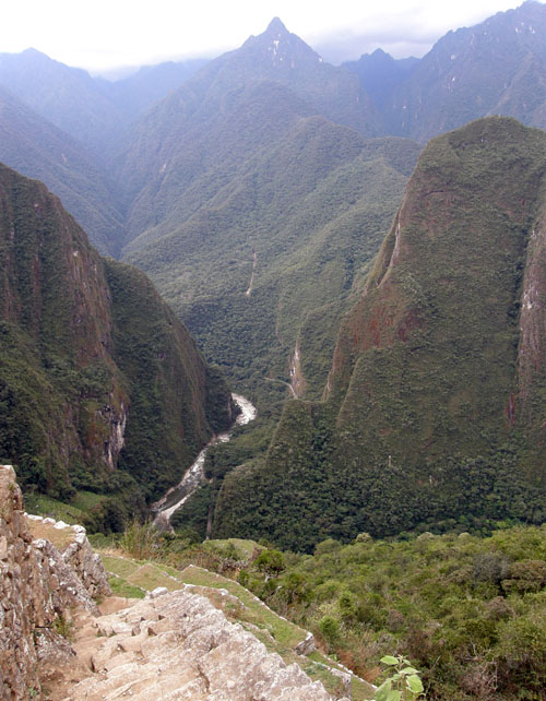 Machu Picchu view of Urubamba river from terraces