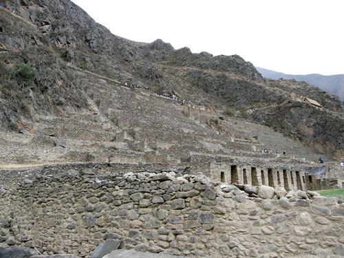 Ollantaytambo - Inca ruins - houses on the slope of mountain