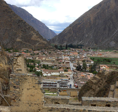 Ollantaytambo - Inca ruins - landscape and view down from terrace