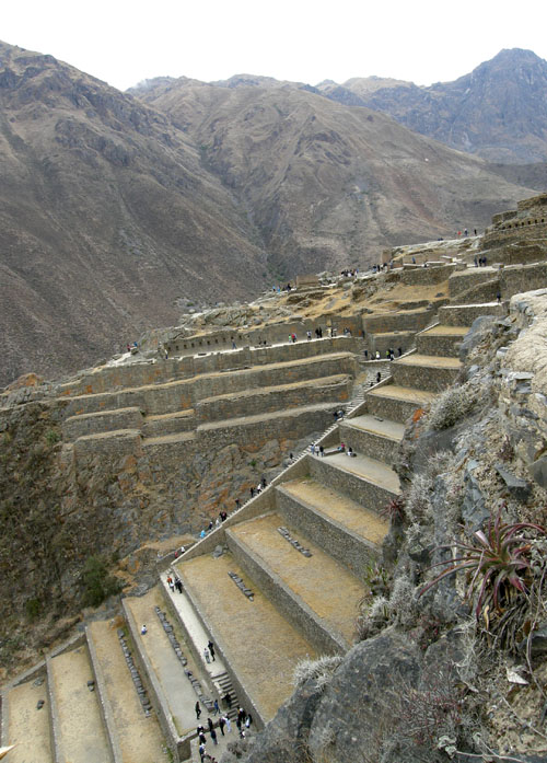 Ollantaytambo - Inca ruins - view from path on a side of slope
