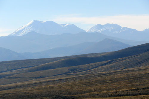 Patapampa viewing point at 4850m with views of Ampato snow-capped volcano range