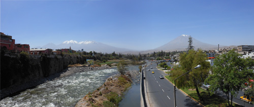 Peru, Arequipa - panorama with volcanos in the background
