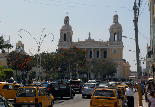 Peru, Chiclayo - Santa Rosa de Lima church and busy main plaza