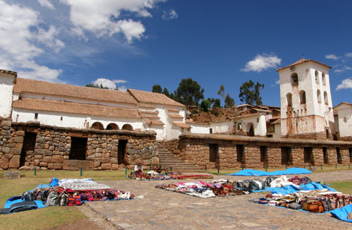 Peru, Chinchero Archaeological Site - church, bell tower and plaza