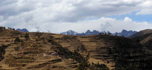 Peru, Chinchero Archaeological Site - landscape and snow-capped moutains