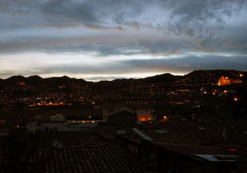 Peru, Cuzco - city panorama at sunset