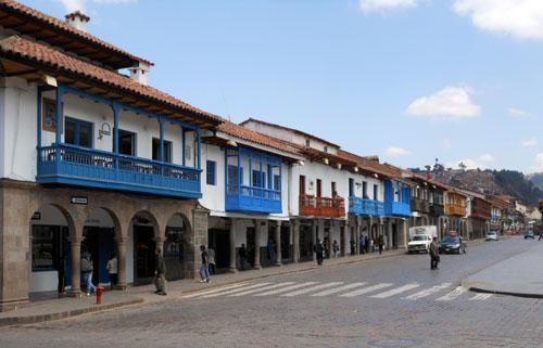 Peru, Cuzco - colourful balconies at Plaza de Armas