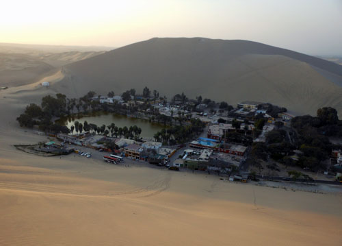 Peru, Huacachina Oasis - view from sand dune